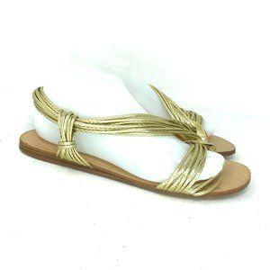 Zara Basic Womens Gold Strappy Flat Sandals Size 8